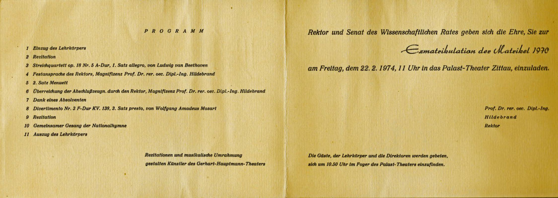Einladung zur Exmatrikulation am 22.02.1974