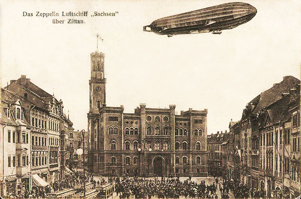 """Zeppelin """"Sachsen"""" über Zittau"""