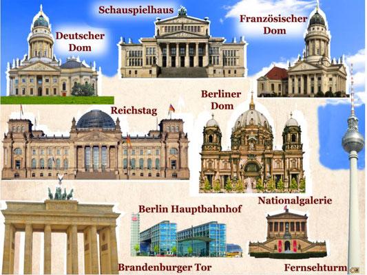 Fernsehturm, Nationalgalerie, Deutscher Dom, Französischer Dom, Schauspielhaus, Berliner Dom, Brandenburger Tor, Reichstag, Hauptbahnhof