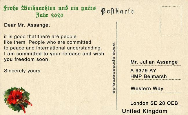 Freiheit für Julian Assange - Karte zu Weihnachten (Text)