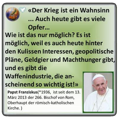 Friedenszitat von Papst Franziskus