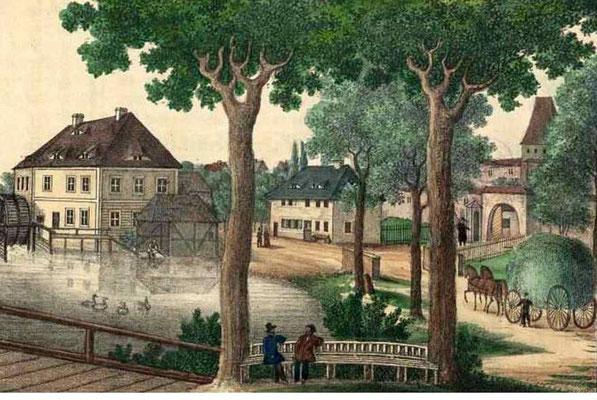 1826-Zittau-An der Wasserpforte in der Stadtmauer gab es eine Mühle