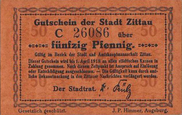1918 - Gutschein der Stadt Zittau