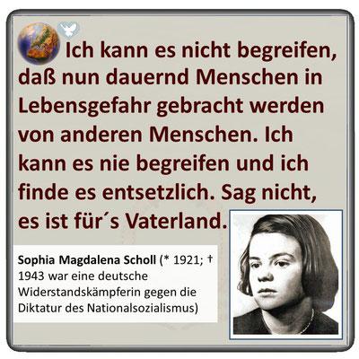 Friedenszitat von Sophie Scholl