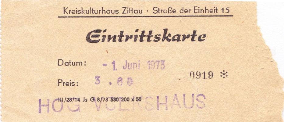 1973-Eintrittskarte Kreiskulturhaus Zittau