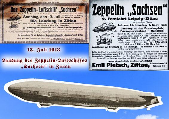 """Zeppelin """"Sachsen"""" (LZ17) in Zittau am 13.07.1913 (tatsächlich am 27.07.1913) - Collage1"""