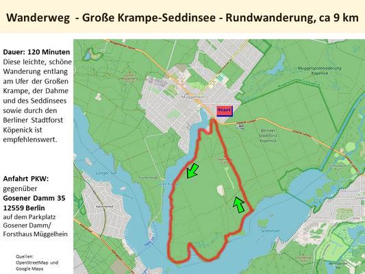 Rundwanderung Große Krampe - Seddinsee - Köpenicker Forst,  ca 9 km, ca. 120 Minuten