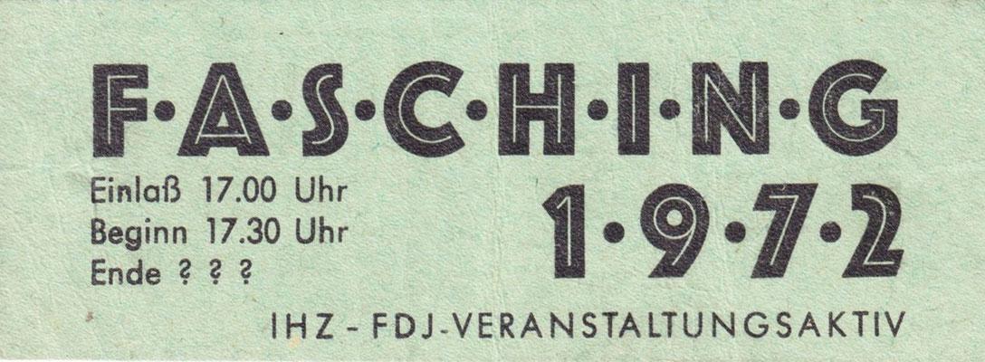 Fasching Eintrittskart 1972