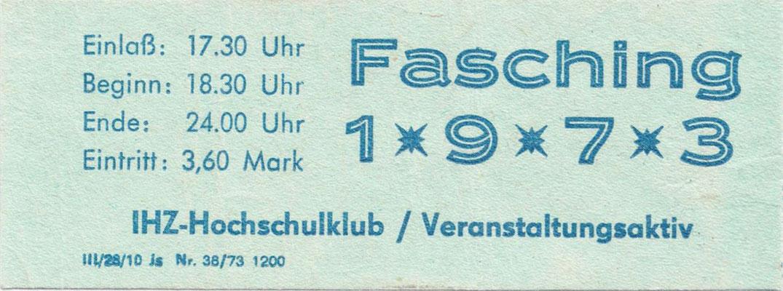 Fasching Eintrittskart 1973