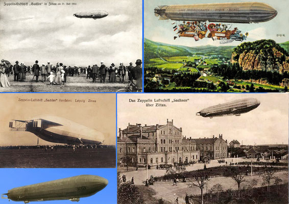 """Zeppelin """"Sachsen"""" (LZ17) in Zittau am 13.07.1913 (tatsächlich am 27.07.1913) - Collage2"""