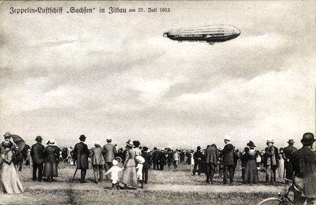 """Zeppelin Luftschiff """"Sachsen"""" über Zittau am"""