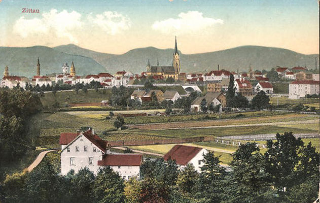1914-Zittau-Panorama mit Kirche