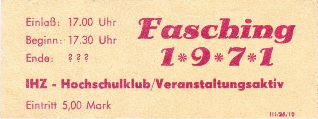 Fasching Eintrittskart 1971