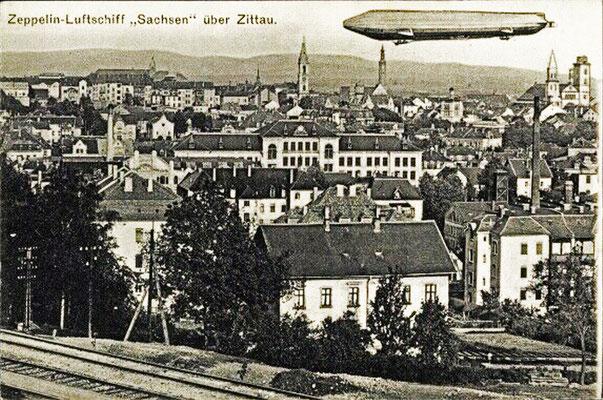 """Zeppelin """"Sachsen"""" über Zittau 27.07.1913"""