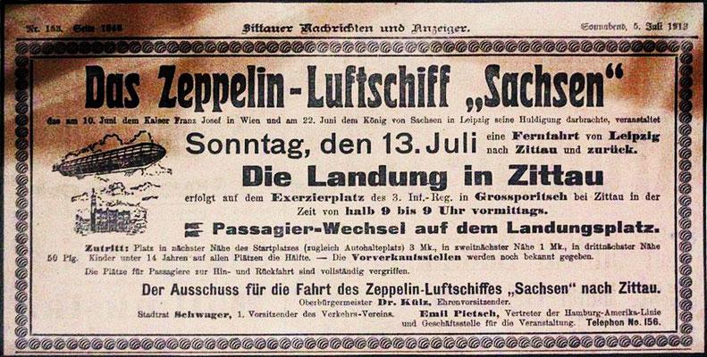 """Anzeige Zeppelin """"Sachsen"""" (LZ17) in Zittau am 13.07.1913"""