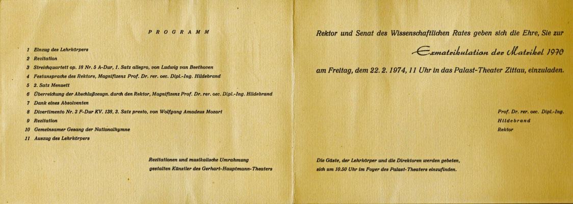 IHZ Exmatrikulationsfeier 1974