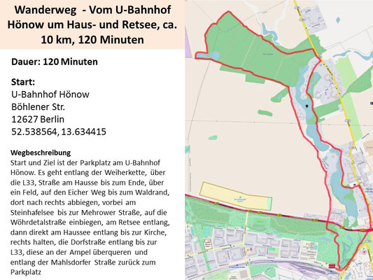 Wanderung vom U-Bahnhof Hönow um Haus- und Retsee