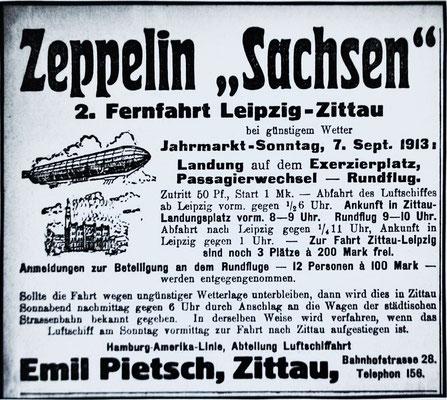 """Anzeige Zeppelin """"Sachsen"""" (LZ17) in Zittau am 07.09.1913"""