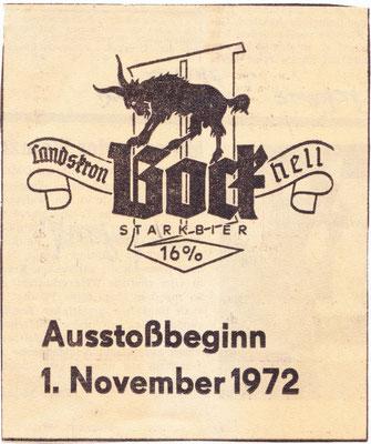 1972 Landskron BockBier Anstich