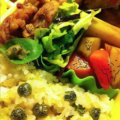 『美奈子さんのお弁当で遊ぼう!』のコーナー ざんすよぉ。今日は邪悪なグレイが潜んでいる ざんすよ。(((( ;゚д゚))))アワワワワ 【制作日/2012年1月18日】