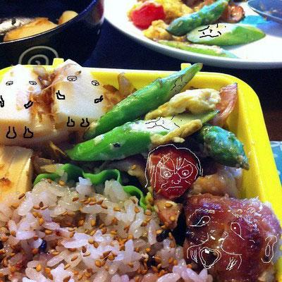 久しぶりに『美奈子さんの弁当で遊ぼう!』でつ。 今日は水木先生もびっくりの妖怪弁当だぉ。怖っ! 【制作日/2012年3月13日】
