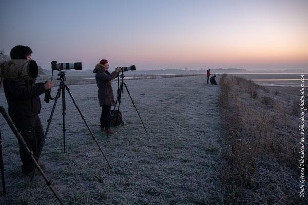 En attendant le lever de soleil sur le lac de Der