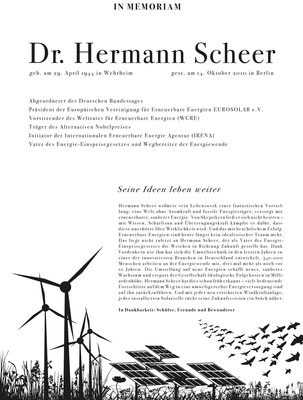 Traueranzeige Hermann Scheer | Art Direction: Marc Aurel Hartung