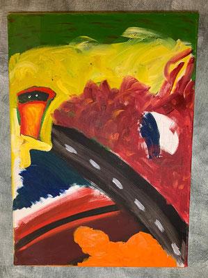 2004, Farbstraße, 50x70cm, Ölfarbe auf Leinwand, 105 Euro