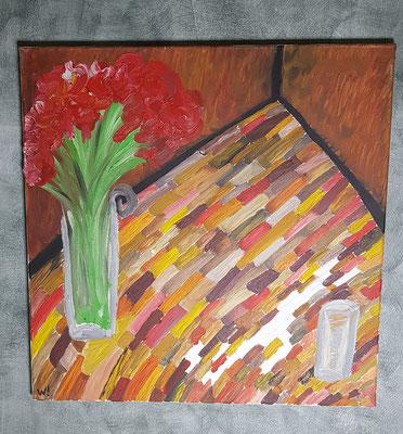 2004, Ein Glas auf einem Ahornboden, Ölfarbe auf Leinwand, 165 Euro