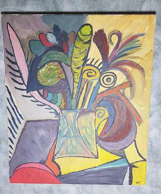 2001, Mein Blumenstrauß, 50x60cm, Ölfarbe auf Leinwand, 125 Euro