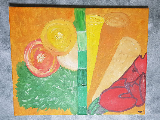 2003, 7 Tulpen, 40x50cm, Ölfarbe auf Leinwand, 95 Euro