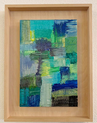2020, Blau-Gruen, 30x40cm, Acrylfarbe auf Leinwand mit Holzrahmen, 95 Euro