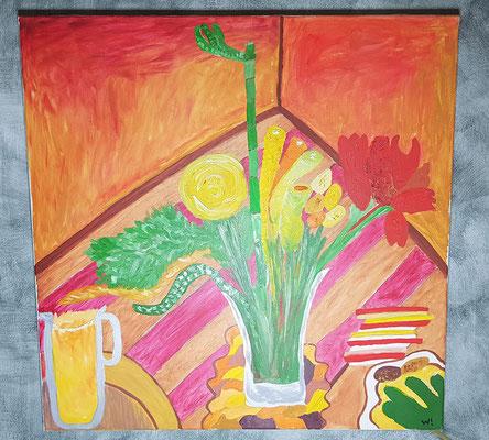 2001, Ein Krug Orangensaft, 70x70cm, Ölfarbe auf Leinwand,  155 Euro