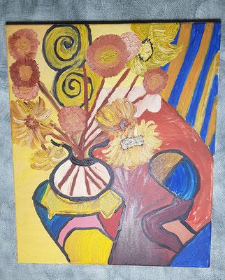 2002, Sonnenblumen, 50x60cm, Ölfarbe auf Leinwand, 95 Euro