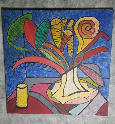2001, Ein Glas Orangensaft, 60x60cm, Ölfarbe auf Leinwand, 145 Euro