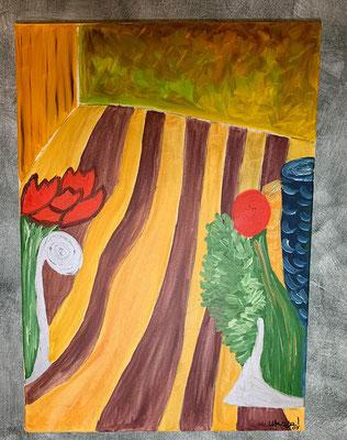 2003, Blumen x2, 50x70cm, Ölfarbe auf Leinwand, 145 Euro