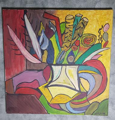 2001, Rote Blumen, 60x60cm, Ölfarbe auf Leinwand, 145 Euro