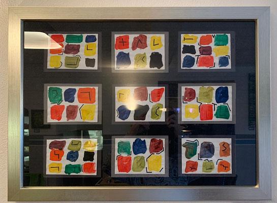 2020, Farbquadrate, 50x70 cm, Acrylfarbe auf Papier mit silbernen Holzrahmen, 250 Euro