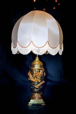 """Pied de lampe en bronze """"au dragon"""" fabrication artisanale Lumibronze"""