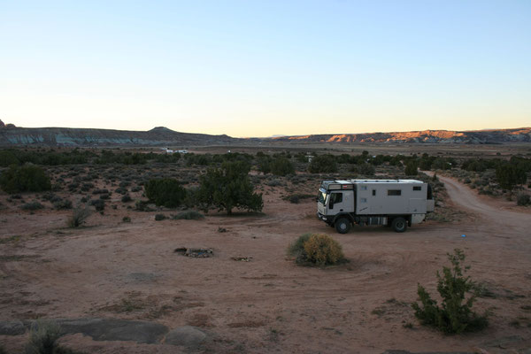Schlafplatz in den Willow Flats, ein paar Meilen außerhalb von Moab.