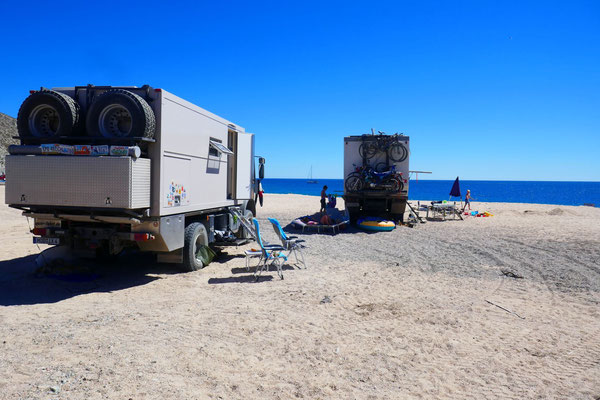 Unser Platz für die nächsten Tage am Strand von Los Frailles