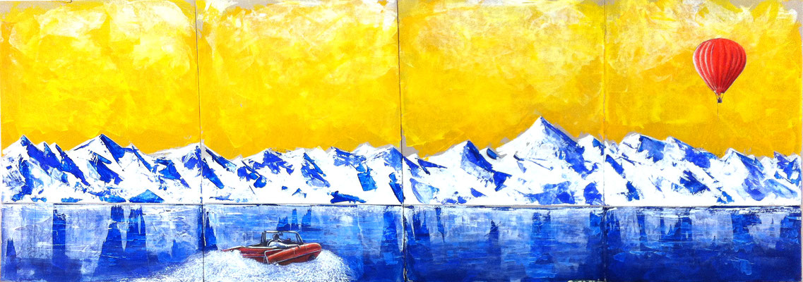 follow me, 120x50cm,  Acryl auf Graupappe