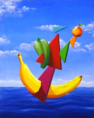 Bananaboot, 80x100cm,  Acryl auf Leinwand