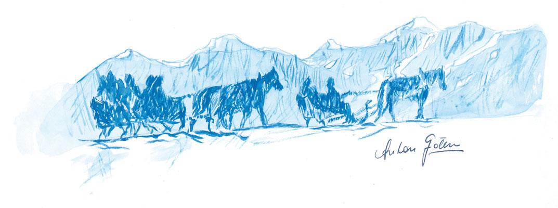 Im Schneeturm, 30x21cm, Aquarell