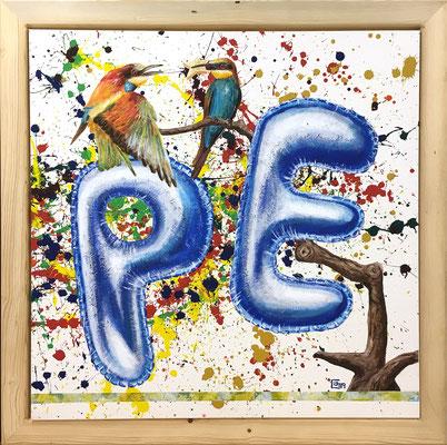 PE für Peace/Frieden, 100x100cm, Acryl auf Leinen