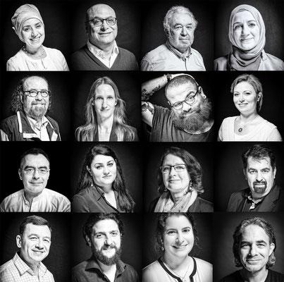 """Syrische, deutsch-syrische und deutsche Co-Autoren des Textbildbandes """"Syrien. Ein Land ohne Krieg"""", die auch in Videos von ihrem Syrien erzählen."""