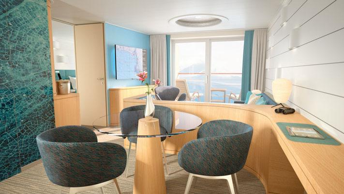 Junior Suite Wohnbereich, ca. 42 m², inkl. privaten Balkons (ca. 6 m²)