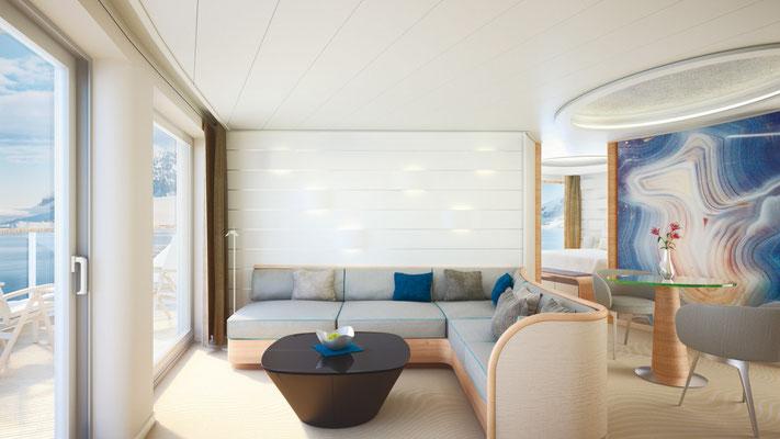 Grand Suite Wohnbereich, ca. 71 m², inkl. privater Veranda (ca. 16 m²)