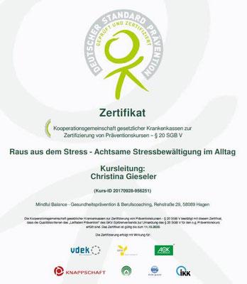 Zertifikat der Prüfstelle Prävention für den Präventionskurs Raus aus dem Stress - Achtsame Stressbewältigung - Christina Gieseler, Mindful Balance Gesundheitsprävention