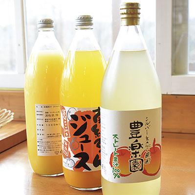 地元岩村産のりんごや三重県郷浜町産のみかんを使った100%ストレート果汁のジュース